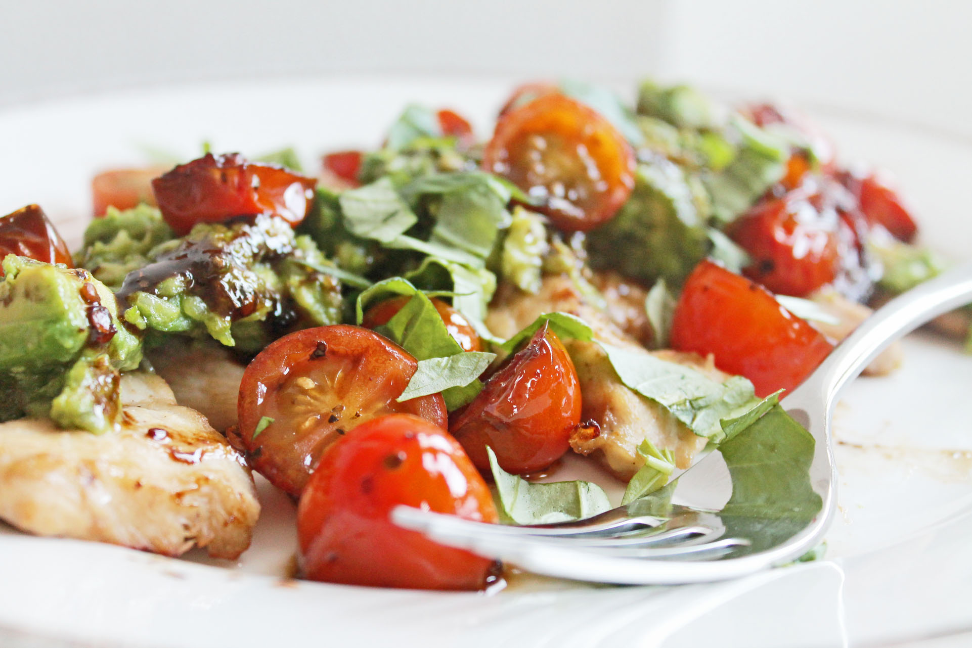 Clean Eating Recipe: Avocado Parm Chicken with Balsamic Tomatoes